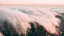 Clouds literally running over the edge of Table Mountain Capetown  effectfoto