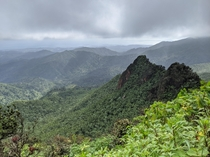 Clouds parted briefly on rainy day at El Yunque National Forest PR