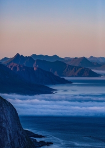Clouds rolling in at dusk over Lofoten Norway