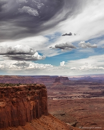Clouds rolling in over Canyonlands National Park Utah