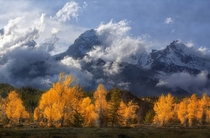 Cloudy Grand Tetons Wyoming  by Karen Hunnicutt