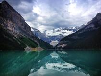 Cloudy reflection on Lake Louise
