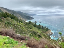 cloudy skies adding colour to super green Big Sur California