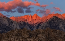 Cloudy Sunrise Over A Snowless Mt Whitney Alabama Hills CA