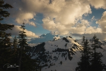 Cloudy sunset high in the North Cascades x