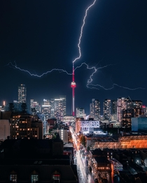 CN Tower Toronto being struck by Lightning  X