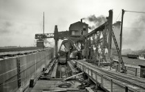 Coal Docks Ohio Central Railroad Toledo Ohio Demonstration of Brownhoist Car Dumping Machine ca