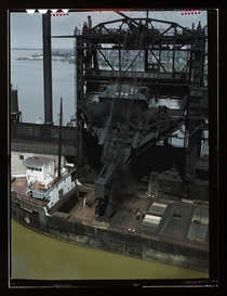 Coal loading operation at the Pennsylvania Railroad Docks Sandusky Ohio