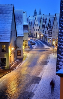 Cobblestone street in Rothenburg Germany