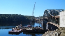 Coffer dam work as construction begins to replace the ailing Whittier Bridge  NewburyportAmesbury MA