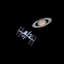 Coincidentally Saturn and the space station can appear about the same size in the night sky Here are my photos of each composited side by side to compare Both images were photographed with the same gear at the same scale