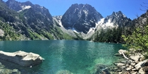 Colchuck Lake in front of Dragontail Peak up in the Enchantments in Leavenworth WA