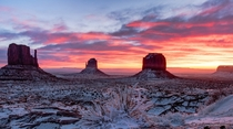 Cold morning in Monument Valley UT-AZ  by Sky Matthews