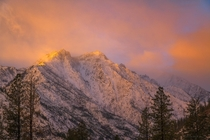 Cold sunrise in the Central Cascades mountain range in Washington USA