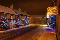 Cold winter night in Castleton England