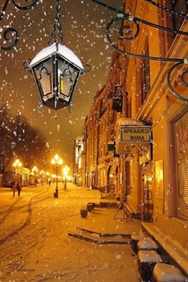 Cold winter night in Moscow Russia