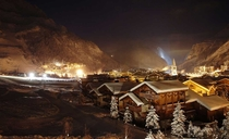 Cold winter night in Val-dIsre France