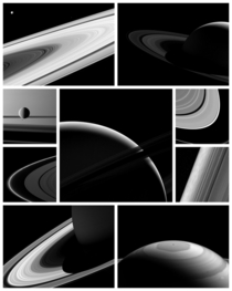 Collage of the latest images of Saturn and its moons from Cassini