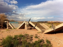 Collapsed bridge off US Route  near Cameron AZ