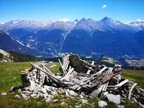 Collapsed shepherds lodge French Alps