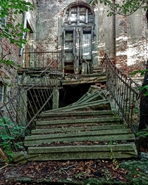 Collapsed stairway to an old house