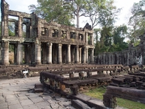 Colonnade at an abandoned temple complex in Cambodia OC