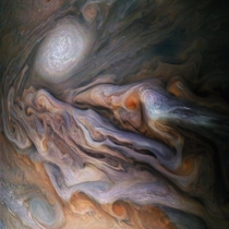 Color-enhanced image of Jupiter taken by the Juno spacecraft on a close flyby