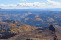 Colorado aspens turning as seen from Mt Uncompahgre