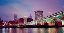 Colored night in the Flats of Cleveland