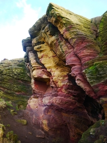 Colored rock formations near Anstruther Scotland