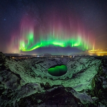 Colorful Aurora over Iceland  Mouseover for names of features