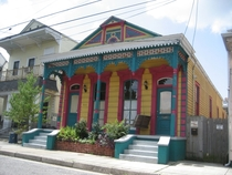 Colorful double shotgun house Rampart St in Bywater New Orleans