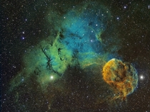 Colorful Jellyfish Nebula Surrounded By Two Stars amp A Supernova Remnant