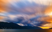 Colorful long exposure sunset captured  Sognefjorden Norway
