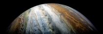 Colorful swirling cloud belts dominate Jupiters southern hemisphere in this image captured by NASAs Juno spacecraft -- Dec