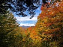 Colorful view of Killington Mountain seen from Coolidge State Park in Plymouth Vermont