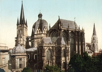 Colorized exterior view of the Aachen Cathedral Germany in