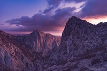 Colors of sunset in the Big Paklenica canyon in Croatia