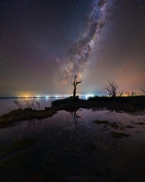 Colors of the stars reflecting over Lake Bonney South Australia