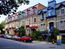 Colourful houses in the Plateau-Mont-Royal neighborhood of Montral Qubec