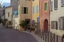 Colourful houses on the street in Die Southern France