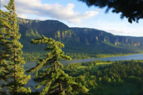 Columbia River Gorge taken from the Washington side facing south to Oregon USA