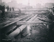 Columbus Circle during construction of the original subway in  Manhattan NYC
