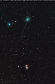 Comet C K PANSTARRS inward bound shown about  degrees north of the interacting galaxy MThe comet may become visible to the naked eye in October