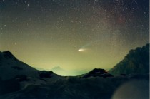Comet Hale-Bopp over Val Parola Pass in Italys Dolomite mountains in