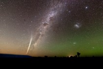 Comet Lovejoy with the Milky Way airglow and Zodiacal light in
