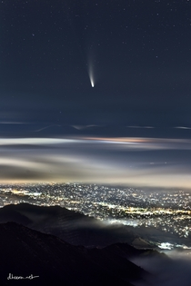Comet NeoWise as seen from the summit of Mt Diablo California