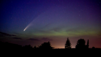 Comet NEOWISE cutting through the Aurora Borealis in Beecher Wisconsin by James Schwolow my SO