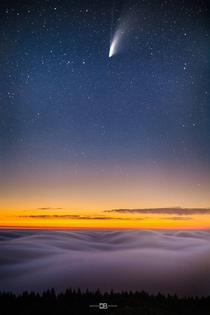 Comet Neowise hangs above a serene blanket of San Francisco Bay Area fog as seen from the peak of Mt Tamalpais -  - IG BersonPhotos