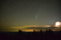Comet Neowise - My first attempt at astro photography staying up all night on mountain top with cameo by lightning